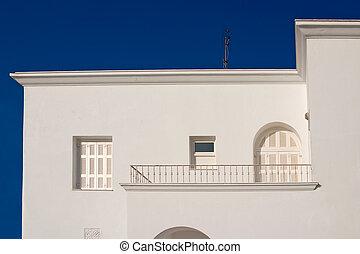 hagyományos, görögország, épület, santorini, fehér