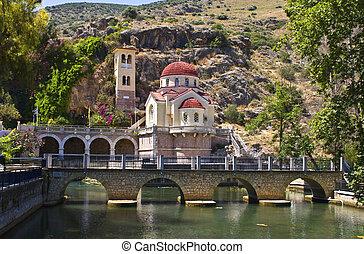 hagyományos, greek orthodox, templom