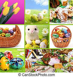 hagyományos, húsvét, -, themed, kollázs
