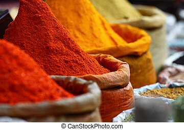 hagyományos, india., piac, fűszeráruk