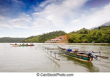 hagyományos, indonéz, csónakázik