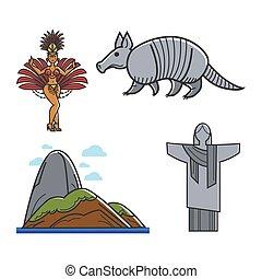 hagyományos, jelkép, brazíliai
