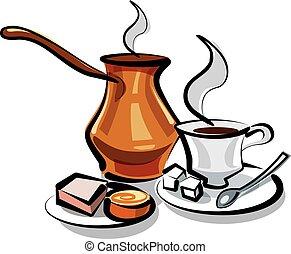 hagyományos, kávécserje, török