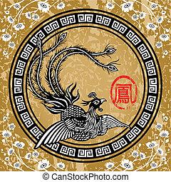 hagyományos, kínai, főnix madár