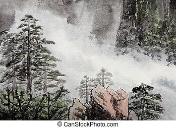 hagyományos, kínai, festmény, közül, öreg fa