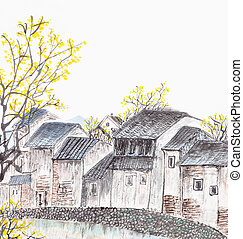 hagyományos, kínai, festmény, közül, öreg, udvarház, táj