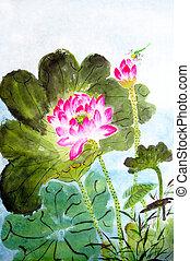 hagyományos, kínai, festmény, közül, lótusz