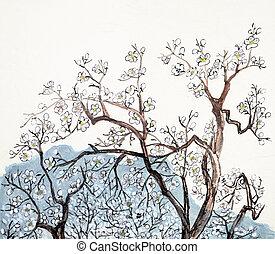 hagyományos, kínai, festmény, közül, szilva virágzik