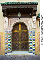hagyományos, kapualj, marokkói