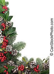 hagyományos, karácsony, floral határ