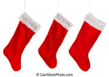 hagyományos, karácsony, három, harisnya, piros