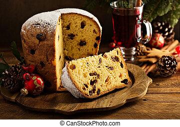 hagyományos, karácsony, panettone, aszalt, gyümölcs