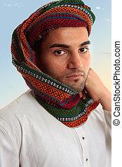 hagyományos, keffiyeh, arab, turbán, ember