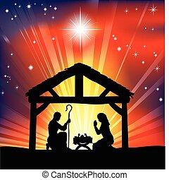 hagyományos, keresztény, christmas nativity táj