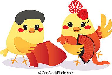 hagyományos, madarak, spanyol