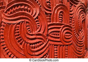 hagyományos, maori, azokat, fából való, aláír