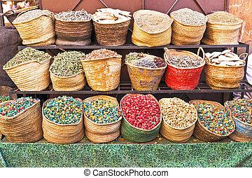 hagyományos, marokkó, piac