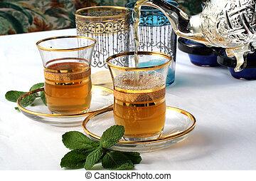 hagyományos, marokkói, pénzverő tea