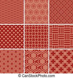 hagyományos, motívum, japán, piros