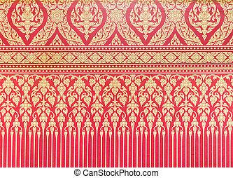 hagyományos, motívum, wallpaper., thai ember, piros