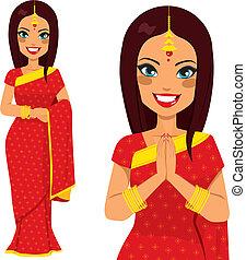 hagyományos, nő, indiai