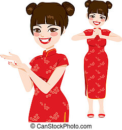 hagyományos, nő, kínai