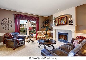 hagyományos, nappali, decor., kiváló