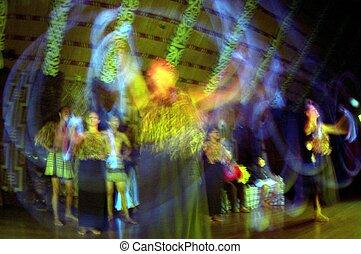 hagyományos, new zealand, maori, haka, táncol, előadás