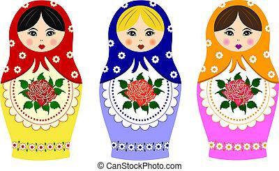 hagyományos, orosz, matryoshka