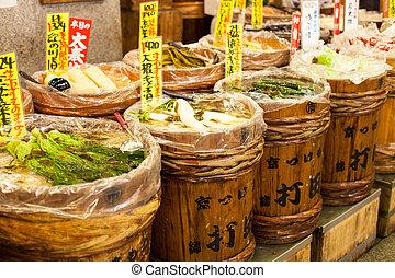 hagyományos, piac, alatt, japan.