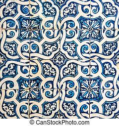 hagyományos, portugál, azulejos, csempeborítás
