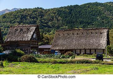 hagyományos, történelmi, község, alatt, shirakawago