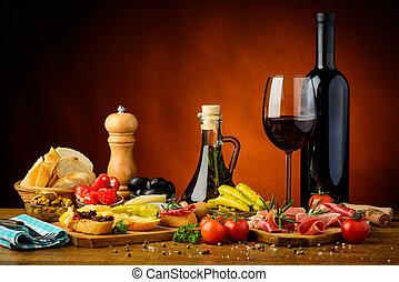 hagyományos, tapas, bor, piros, spanyol