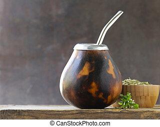 hagyományos, tea, yerba, társ