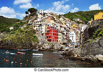 hagyományos, tengertől távol eső, riomaggiore, olaszország, ...