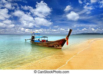 hagyományos, thai ember, csónakázik, thaiföld, phuket