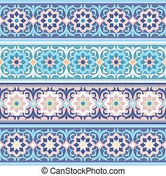 hagyományos, vektor, virágos, díszítés, seamless, muzulmán
