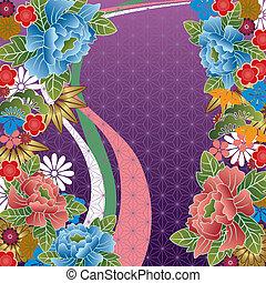 hagyományos, virágos, japán, motívum