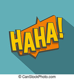 HAHA, comic text speech bubble icon, flat style