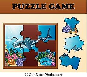 hai, puzzel, thema, passend, spiel- brett, bilder, wal, schatten