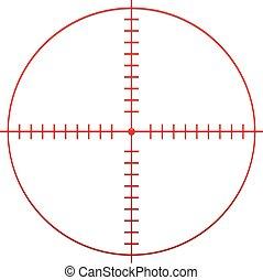 hai, reticle, cible, marque, croix, rouges