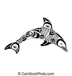 haida, dauphin, tattoo., ornement, style.