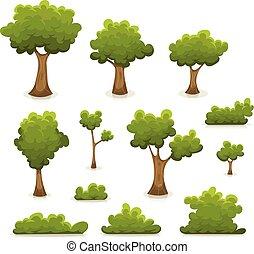 haies, buisson, arbres, ensemble