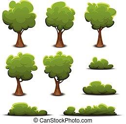 haies, buisson, ensemble, arbres, forêt
