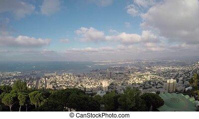 Haifa Bahai garden view to the sea, city transportation and...