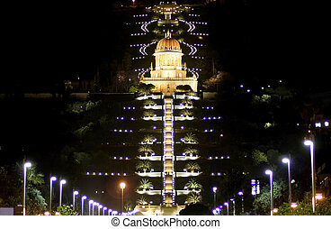 haifa - Bahai temple and garden by night