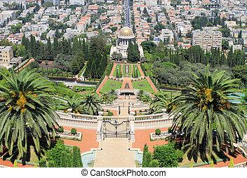 haifa, israel., bahai, jardines