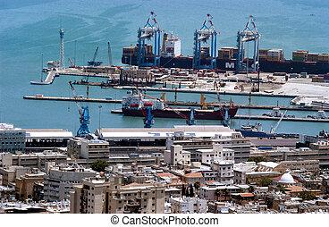 haifa, israel, -, havn
