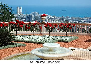 haifa, jardín, bahai, terraza, templo, vista