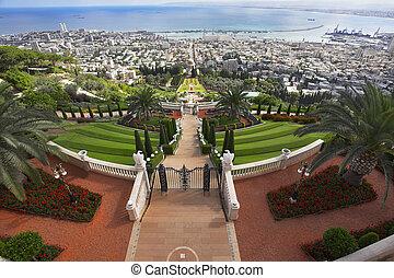 haifa, mar, lugares, mediterráneo, sagrado, bahay